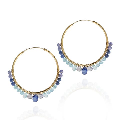 Handmade Shades of Blue Hoop Gold over .925 Silver Earrings (Thailand)