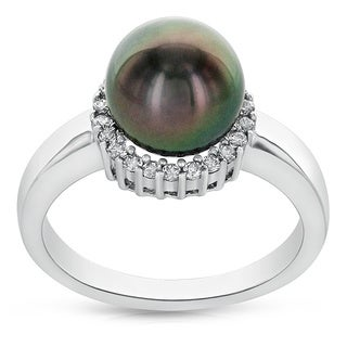 Radiance Pearl 8mm Tahitian South Sea Pearl and Cubic Zirconia Ring (8-9mm)