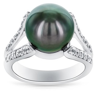Radiance Pearl Sterling Silver Tahitian South Sea Pearl And Cubic Zircoina Ring 11 12mm