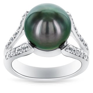 Radiance Pearl Sterling Silver Tahitian South Sea Pearl and Cubic Zircoina Ring (11-12mm)