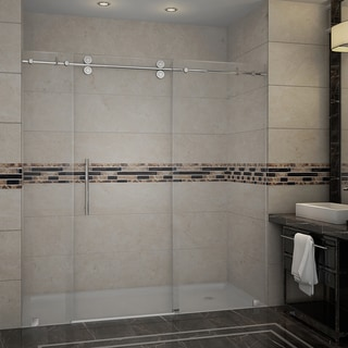 Aston Langham 72-in x 75-in Completely Frameless Alcove Sliding Shower Door in Chrome