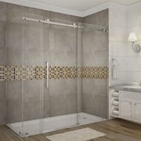 Aston Moselle 72-in x 35-in x 75-in Completely Frameless Sliding Shower Enclosure in Chrome