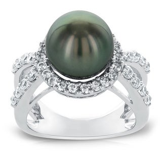 Radiance Pearl 10mm Tahitian South Sea Pearl and Cubic Zirconia Ring (10-11mm)