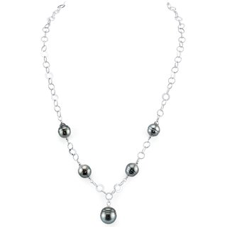 Radiance Pearl Sterling Silver Baroque Tahitian South Sea Pearl Necklace (8-9mm)