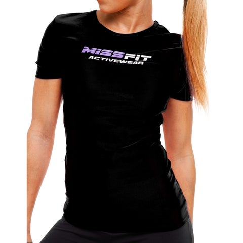 MissFit Activewear Black Graphic Athletic Top