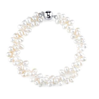 Radiance Pearl Sterling Silver Rice-shaped White Freshwater Pearl Bracelet (4-5mm)|https://ak1.ostkcdn.com/images/products/10461236/P17552713.jpg?impolicy=medium