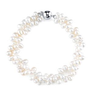 Radiance Pearl Sterling Silver Rice-shaped White Freshwater Pearl Bracelet (4-5mm)