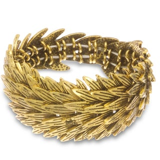 18K Gold Overlay Leaf Stretch Bracelet, Fits Wrist Sizes 7-8
