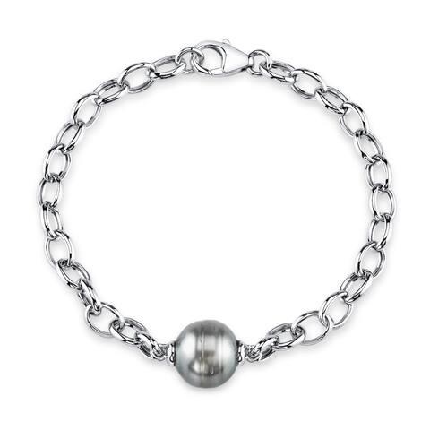 Radiance Pearl Sterling Silver Baroque Tahitian South Sea Pearl Link Bracelet (10-11)