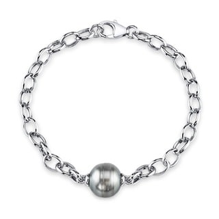Radiance Pearl Sterling Silver Baroque Tahitian South Sea Pearl Link Bracelet (10-11)