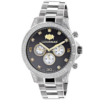 Luxurman Men's Liberty Two-tone Stainless Steel 1/2ct TDW Diamond Swiss Quartz Watch
