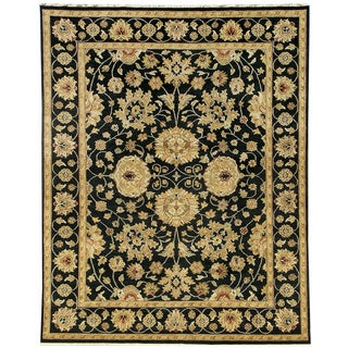 Hand-knotted Oasis New Zealand Wool Black Border Rug (8' x 10')
