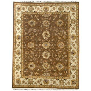 Hand-knotted Oasis New Zealand Wool Brown Border Rug (2' x 8')