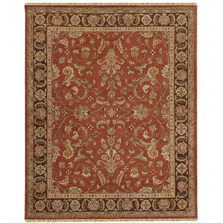Hand-knotted Oasis New Zealand Wool Rust Border Rug (2' x 9')