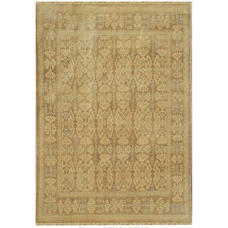 Hand-knotted Anatolia Wool Beige Border Rug (8' x 10')