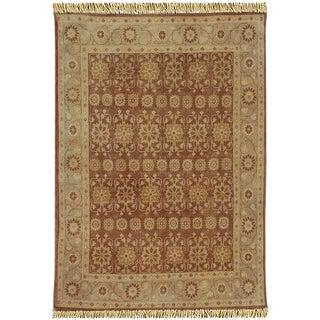Hand-knotted Anatolia Wool Rust Border Rug (8' x 10')