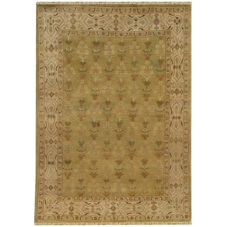 Hand-knotted Anatolia Wool Off-white Border Rug (8' x 10')
