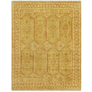 Hand-knotted Anatolia Wool Green Border Rug (9' x 12')