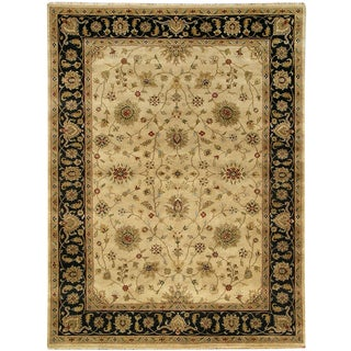 Hand-knotted Oasis New Zealand Wool Beige Border Rug (2' x 8')