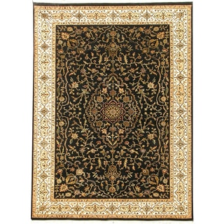 Hand-knotted Riviera New Zealand Wool Black Oriental Rug (10' x 14')