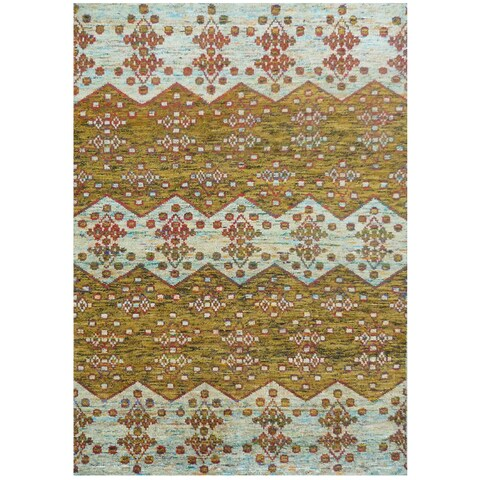 Hand-knotted Silkshine Silk Yellow Argyle Rug (3' x 5')