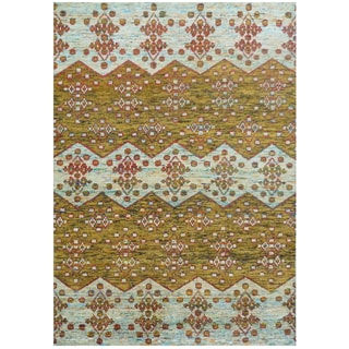 Hand-knotted Silkshine Silk Yellow Argyle Rug (3' x 5')