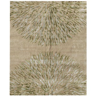 Hand-knotted Synergy New Zealand Wool Beige Floral Rug (10' x 14')