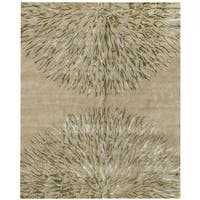 Hand-knotted Synergy New Zealand Wool Beige Floral Rug (10' x 14') - 8' x 10'