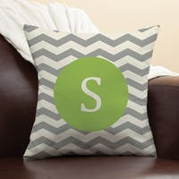 Chevron Initial Personalized Chartreuse Pillow