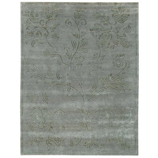 Hand-knotted Synergy New Zealand Wool Blue Floral Rug (10' x 14')