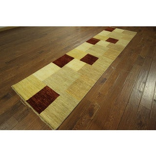 Hand-knotted New Runner Gabbeh Oriental Checkered Chobi Wool Area Rug (3' x 12')