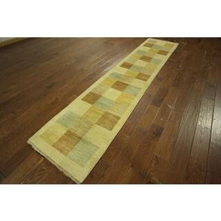 Hand-knotted Lori Buft Persian Gabbeh Runner Checkered Chobi Wool Rug (2' x 10')