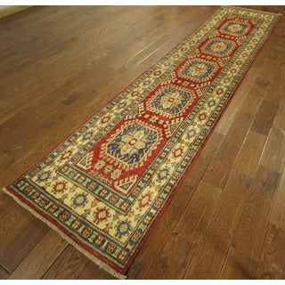 Hand-knotted Red and Ivory Geometric Runner Super Kazak Wool Area Rug (3' x 11')