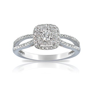 DB Designs 14K White Gold 1/3ct TDW Diamond Square Engagement Ring