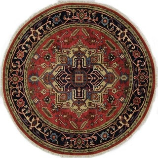 Hand-knotted Round Medallion Red/ Navy Blue Heriz Serapi Wool Area Rug (6', 6' x 6')