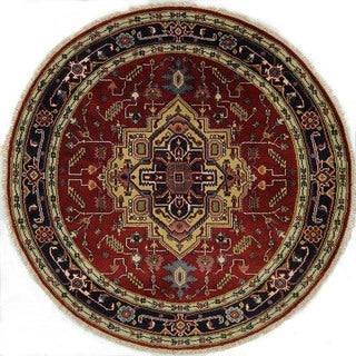 Hand-knotted Round Red and Navy Blue Heriz Serapi Wool Floral Area Rug (6', 6' x 6')