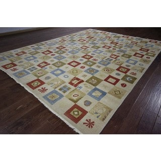 Hand-knotted New Abstract Ivory and Multi-colored Gabbeh Wool Area Rug (9' x 13')