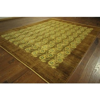 Hand-knotted New Chobi Quality Brown Floral Gabbeh Wool Area Rug (9' x 12', 9' x 10')