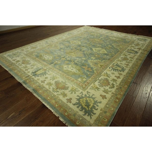 New Persian Hand Tufted Wool Oval Area Rug: Shop Hand-knotted New Elegant Oriental Floral Blue Oushak