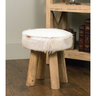 Merrill Modern White Textured Drum Stool
