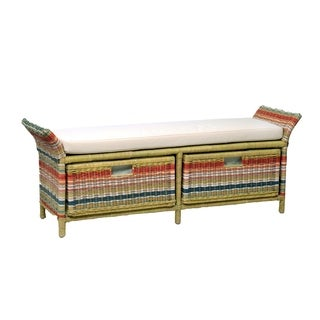 Ione Casual Multi-colored Rattan Bench