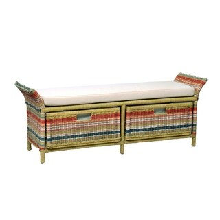 Ione Casual Multi-colored Rattan Bench