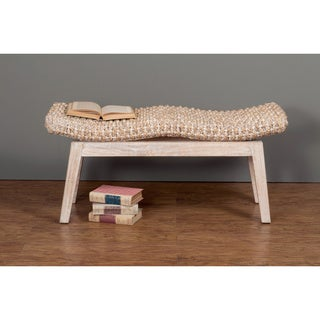 Prairie Casual Off-white Textured Accent Bench