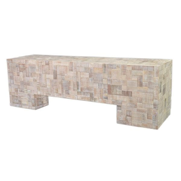 Shop Aurora Contemporary Off-White Washed Bench