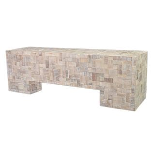 Aurora Contemporary Off-White Washed Bench