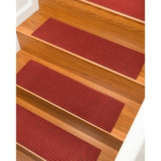 "Natural Area Rugs Halton, Polyester Red, Handmade Stair Treads Carpet Set of 13 (9""x29"") - 13PC (9"" x 29"")"