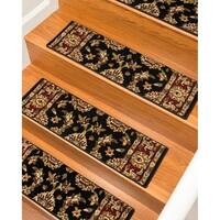 "Handcrafted Sydney Carpet Black Stair Treads (9"" x 29"") (Set of 13) - 2' x 3'"