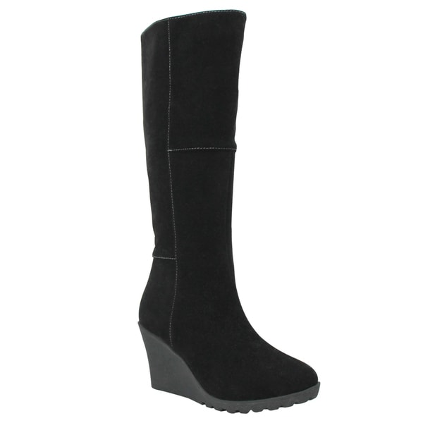 Olivia Miller Thompson Knee High Patch Work Wedge Boots