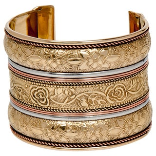 Anika Handmade Floral Goldplated Brass Cuff (India)