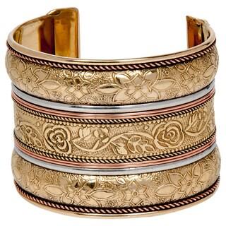 Anika Handmade Floral Goldoverlay Brass Cuff (India)